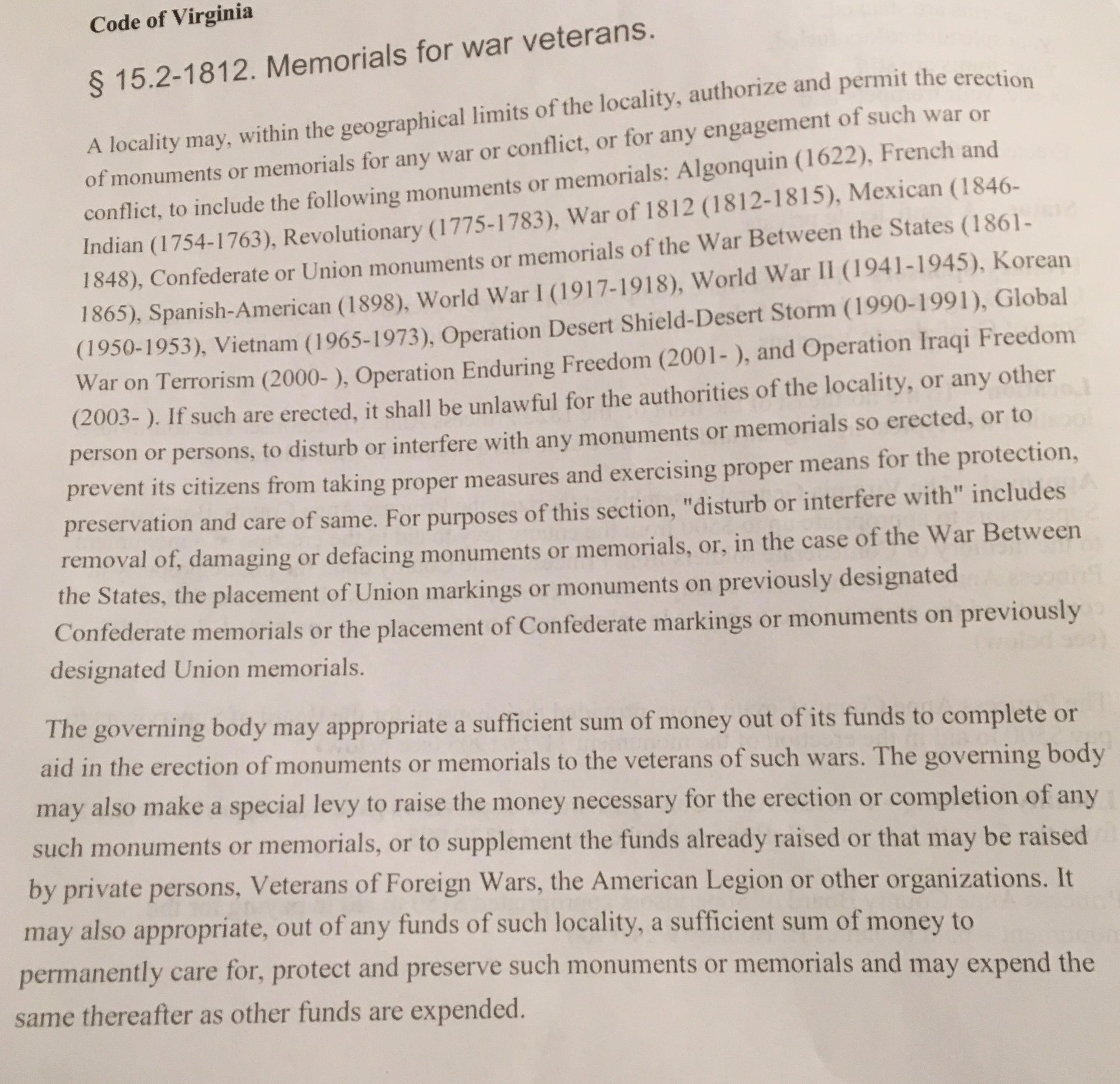 VA Code that Virginia Beach City Attorney interpreted in his opinion regarding the legality of the possibility of the city taking down the monument. 