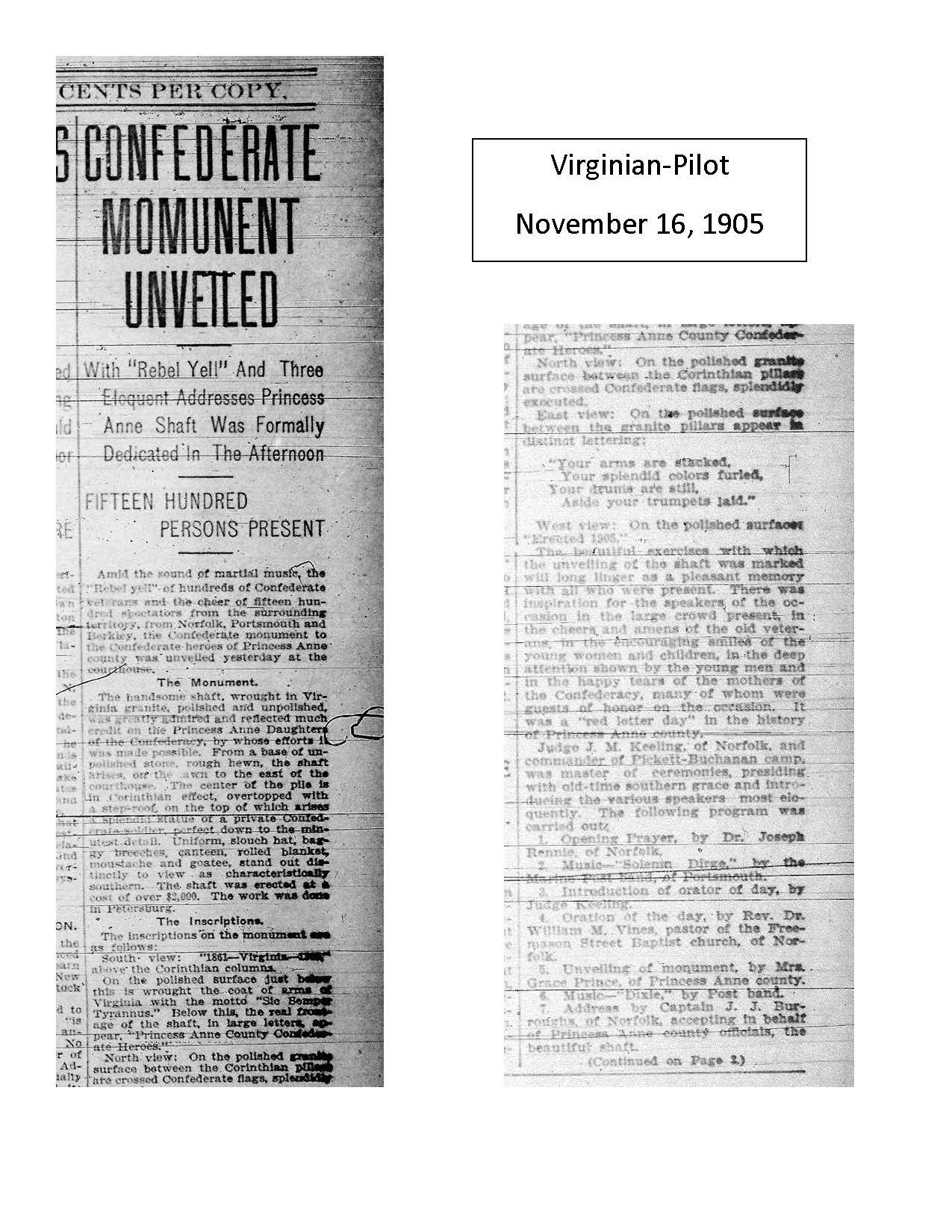 Virginian-Pilot November 16, 1905 article on the dedication of the Princess Anne County Confederate Monument (page 1)