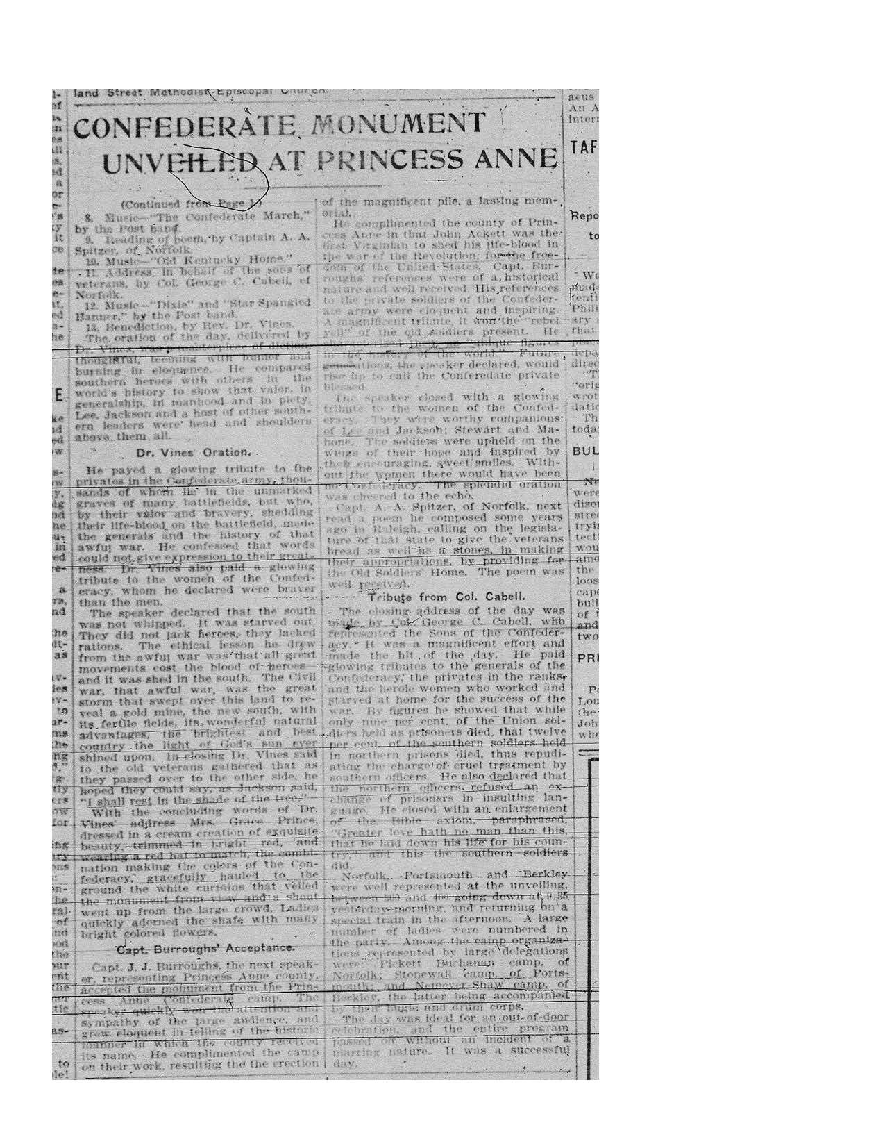 Virginian-Pilot November 16, 1905 article on the dedication of the Princess Anne County Confederate Monument (page 2)