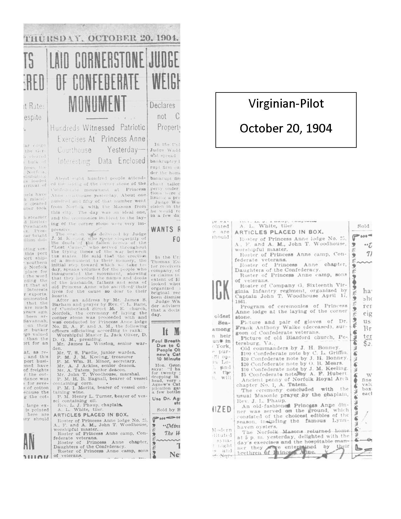 Virginian-Pilot October 20, 1904 article on the laying if the cornerstone for the Princess Anne County Confederate Monument