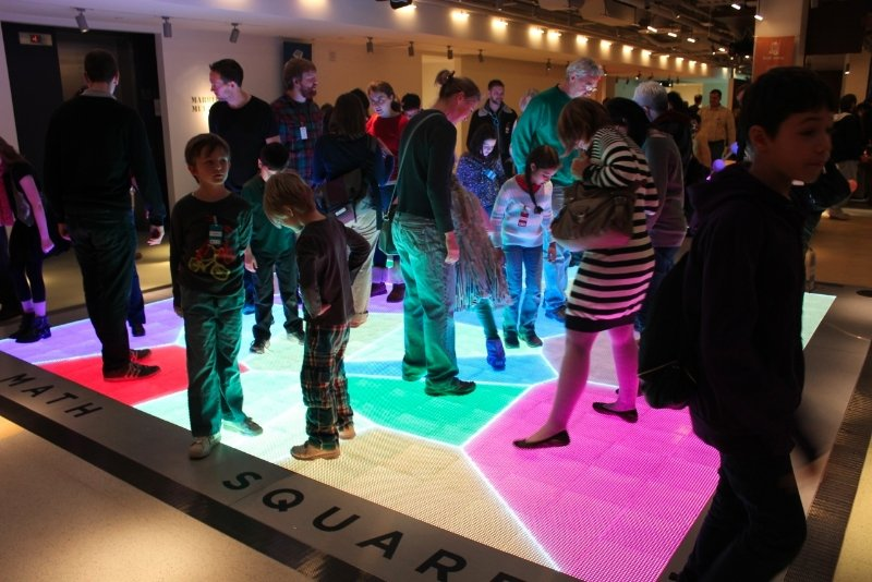Math Square: controlled by the movement of your feet. Credit: National Museum of Mathematics