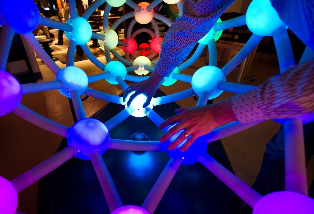 Harmony of the Spheres: create a harmonic soundscape using this interactive musical sculpture, which takes its shape from the symmetries of the 12-tone musical scale. Credit: Joshua Bright for the New York Times