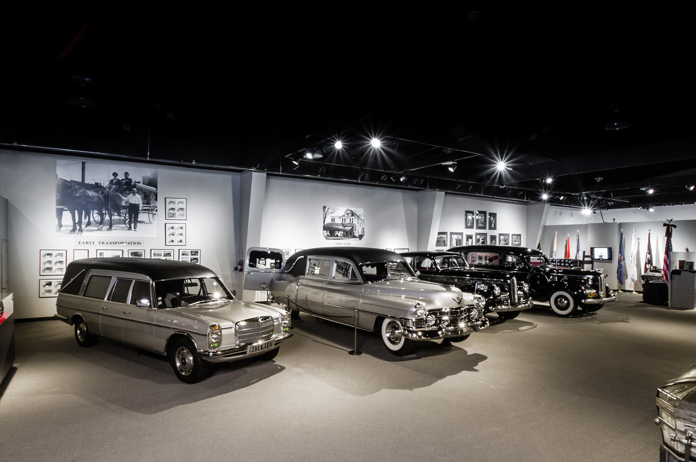 Multiple hearses are on display, including one that carried Grace Kelly and another that carried both Ronald Reagan and Gerald Ford. Image courtesy of the National Museum of Funeral History.