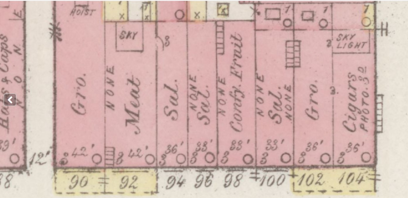 Part of 400 block Main St. in 1885; #98 & #100 are Brown-Feuer Building (Sanborn Map Company p. 4)