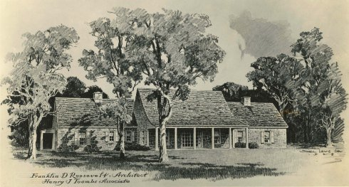 Henry Toomb's exterior design of Top Cottage, listing FDR as the chief architect