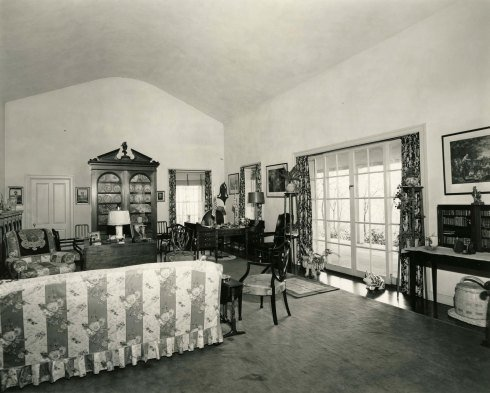 The living room in Top Cottage as it looked in 1945