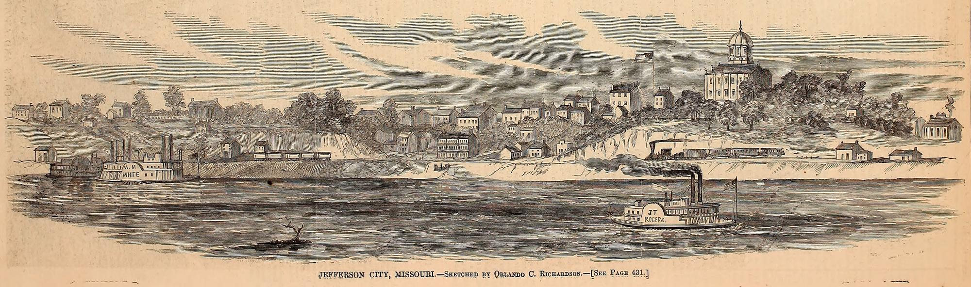 """A sketch of Jefferson City during the Civil War by Orlando C. Richardson, a St. Louis resident. Published in an 1861 issue of Harper's Weekly. Courtesy of Internet Archive and """"Civil War on the Western Border."""""""