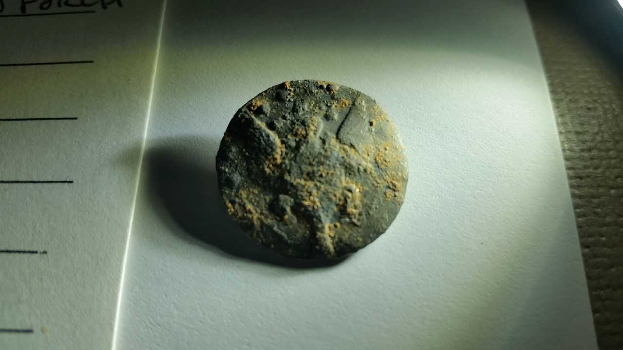 The button from Wayne's Legion, the first American Army, found during the Mead's Tavern porch excavation.