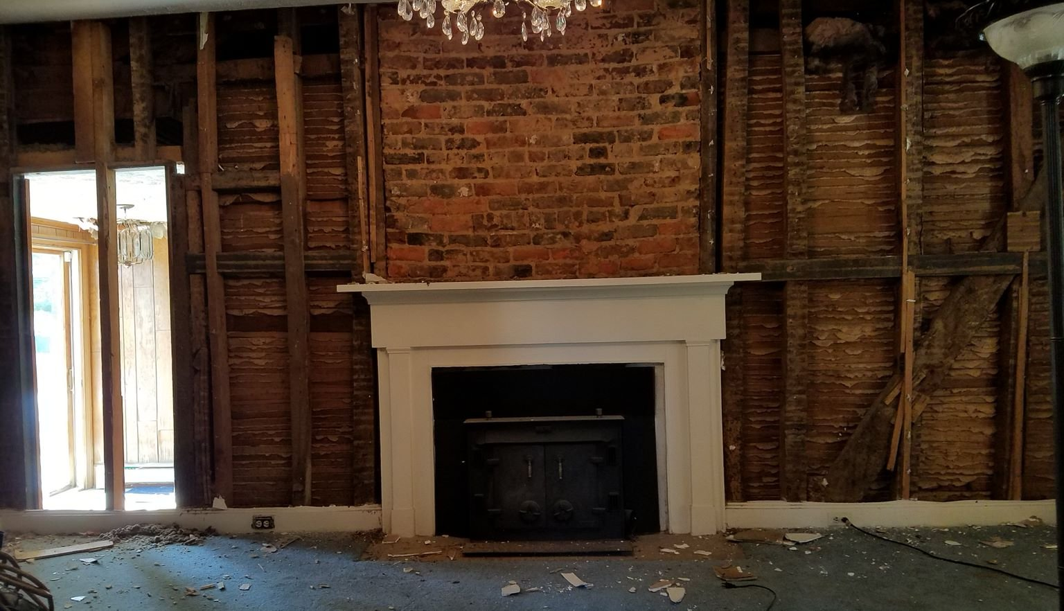 Inside the front parlor of Mead's Tavern after architectural historians removed the modern wall, revealing the orginial framework.