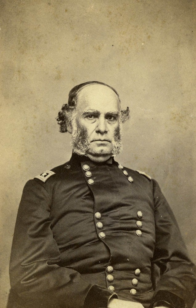 Union General Samuel R. Curtis. Though generally a competent commander, his tactical inflexibility on October 22 nearly lost the battle. His elan seemed to recover the following day during the fighting at Brush Creek.
