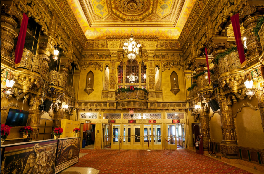 The theater lobby, present day