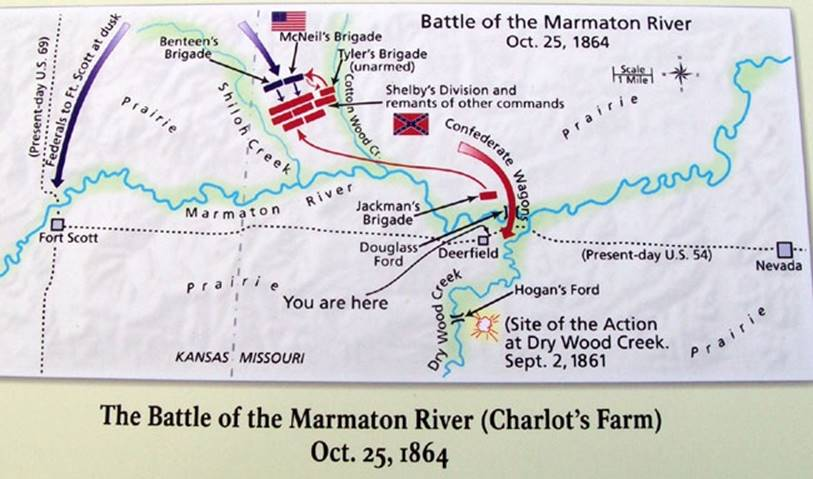 Photograph of the current marker's map, which places the battle farther east than most sources, which often set the Confederate right flank on Shiloh Creek. The latter would put the battle itself in Kansas, rather than Missouri. Courtesy of Kyle S. Sinisi