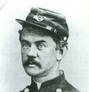 Union Colonel Frederick Benteen, who unwisely charged his exhausted cavalry nearly half a mile against the Confederate left flank. The attack soon bogged down and was repulsed.