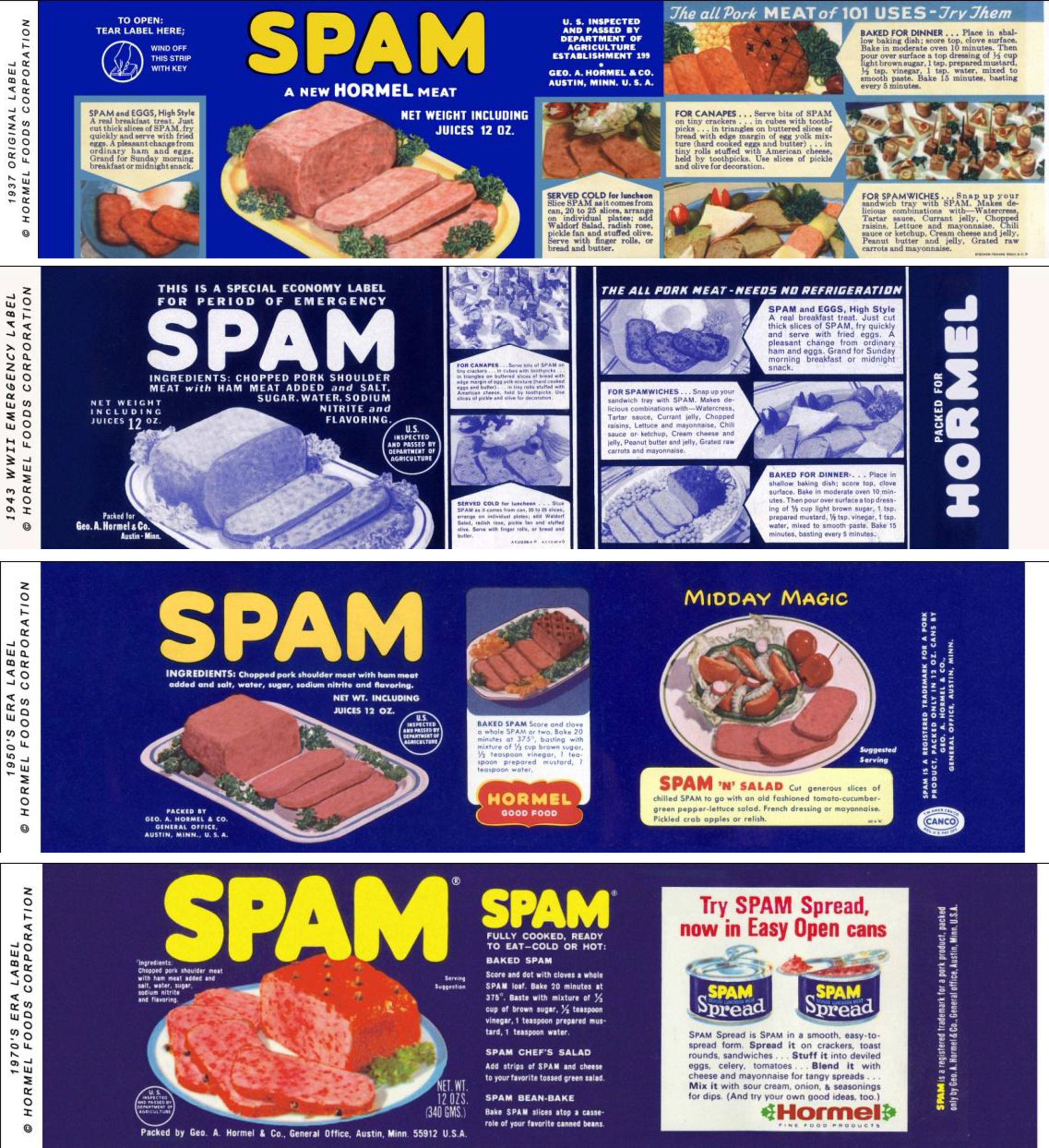 Spam was first marketed in 1937 as an inexpensive and versatile canned meat that could be prepared quickly and with little effort. Image obtained from eater.com.