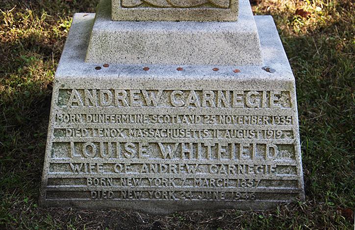 Base of Andrew Carnegie's grave