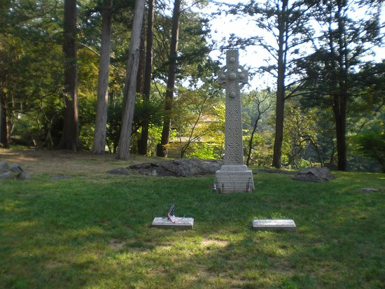 Full view of Andrew Carnegie's grave.  The flat stone at left marks Andrew Carnegie's grave, while that at left marks the grave of his wife, Louise.