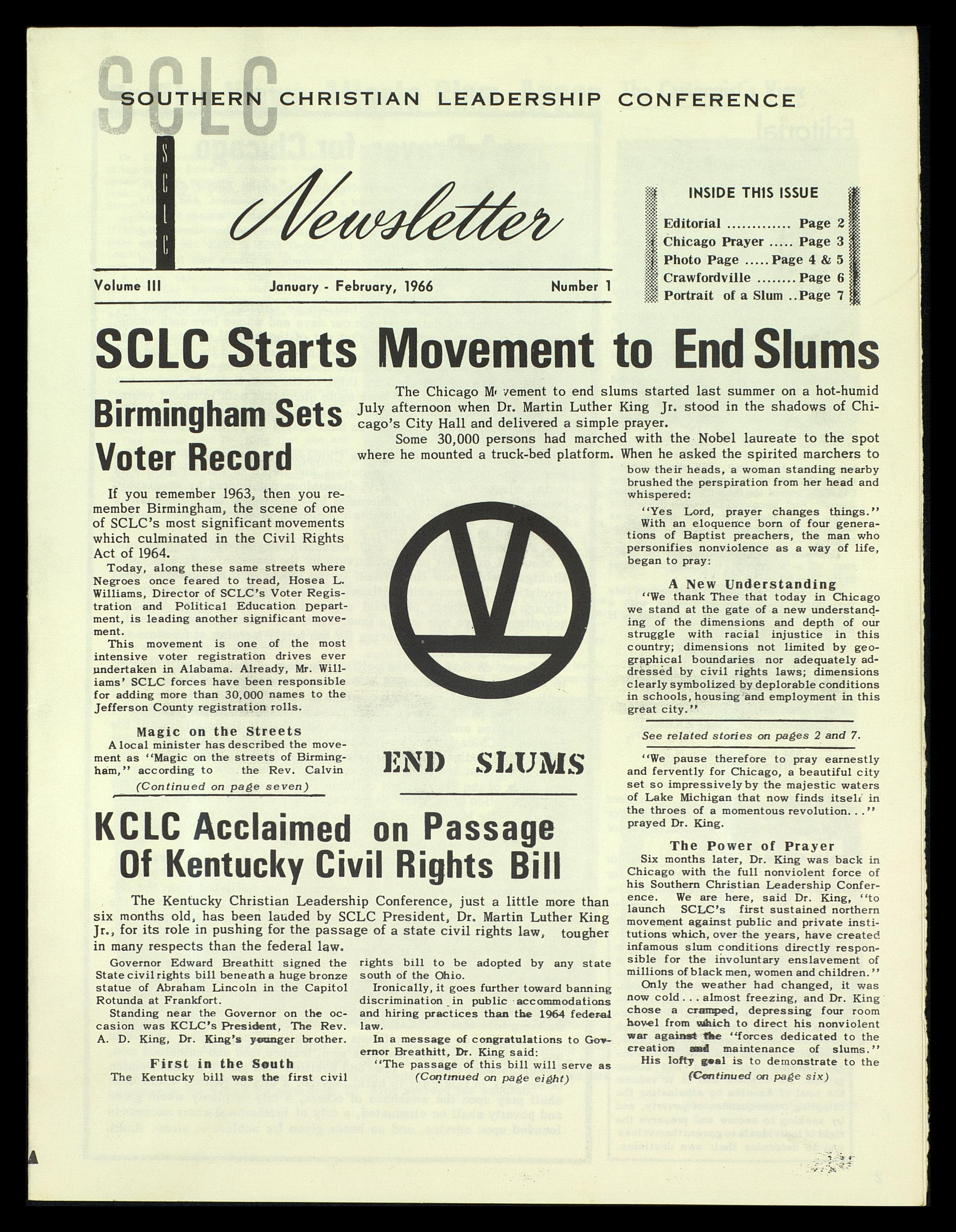 This January 7, 1966 SCLC Newsletter announces the start of the Chicago Freedom Movement which was known at the time as a campaign to end slums.