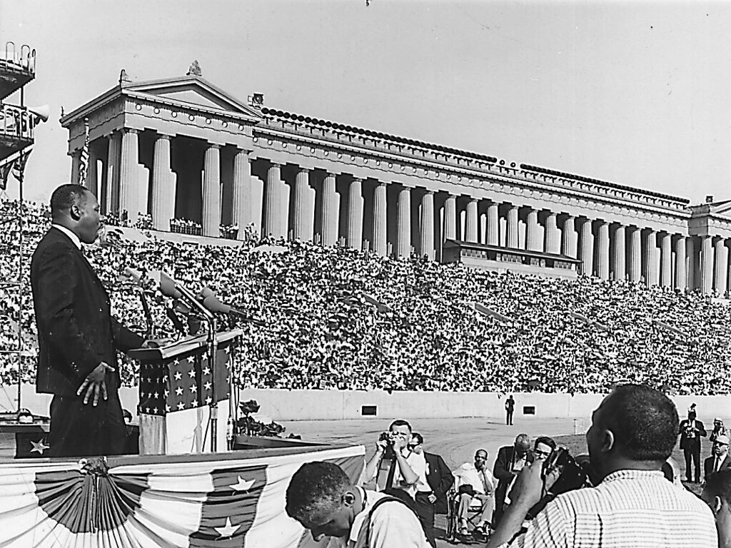 July 10, 1966 rally at Soldier Field. After the rally, thousands of attendees joined King as they marched to City Hall.
