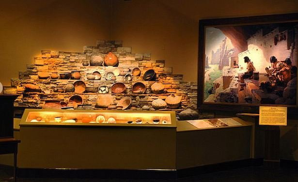 Museum display of American Indian pottery (image from the Woolaroc Museum and Wildlife Preserve)