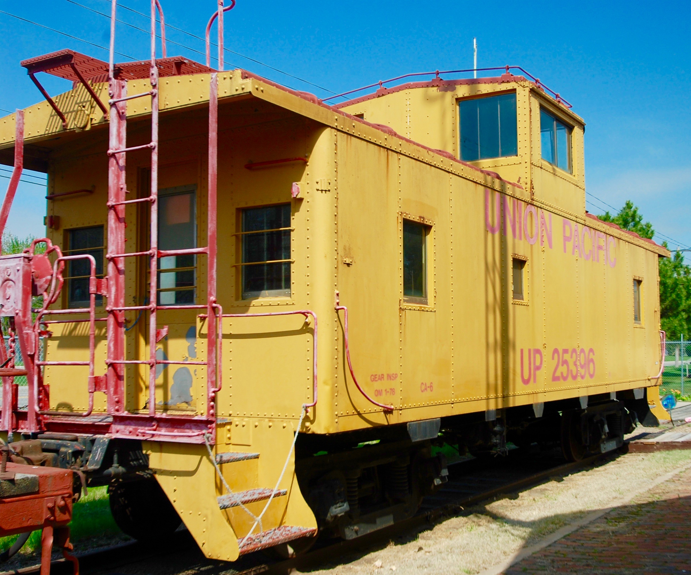 The caboose currently at the Trails and Rails Museum.