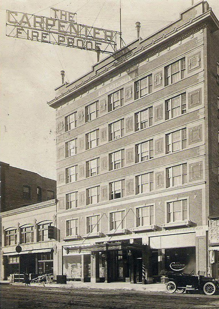 "Early twentieth-century picture of the hotel, via ""The Carpenter"" website."
