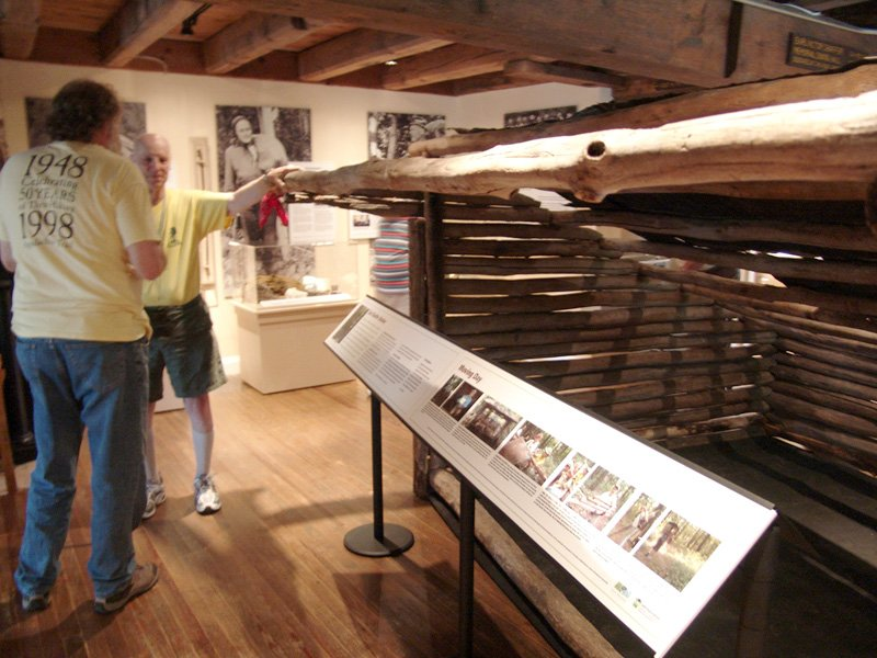 The trail shelter built by Earl Shaffer is a popular exhibit at the museum.