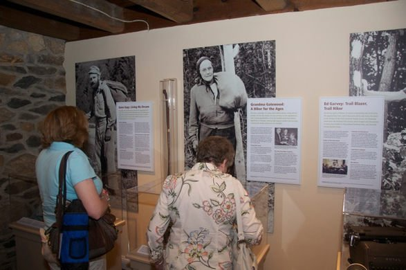Visitors read about some of the A.T. pioneers, to include Grandma Gatewood.