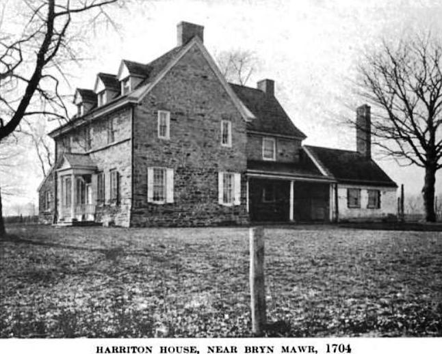 Photo of Bryn Mawr / Harriton House circa 1919, public domain photo from Old Roads Out of Philadelphia by John Thomson Faris, located via Wikimedia Foundation Archive