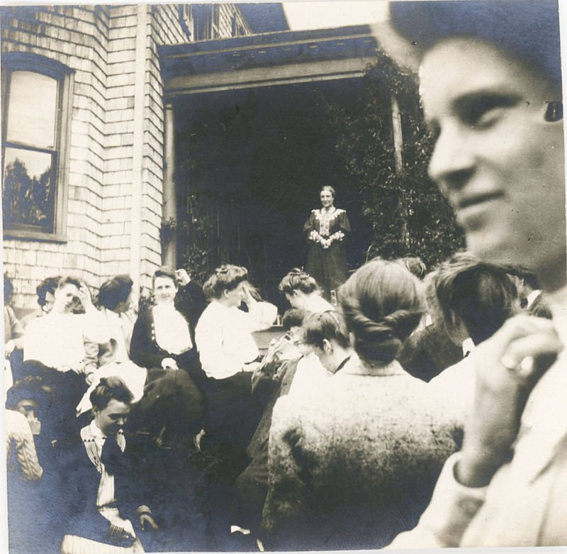 Bryn Mawr's first president M. Carey Thomas addresses students from the porch of the home in 1905.