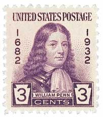 This stamp commemorates the 250th anniversary of William Penn's arrival. It was issued in Philadelphia because he designed the first grid city, featuring parallel streets and blocks of uniform dimension stretching for a mile between two rivers.