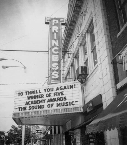 "The theatre brought entertainment from the big screen to many up until it's close in 1981. Here you can see an advertisement for ""The Sound of Music."""