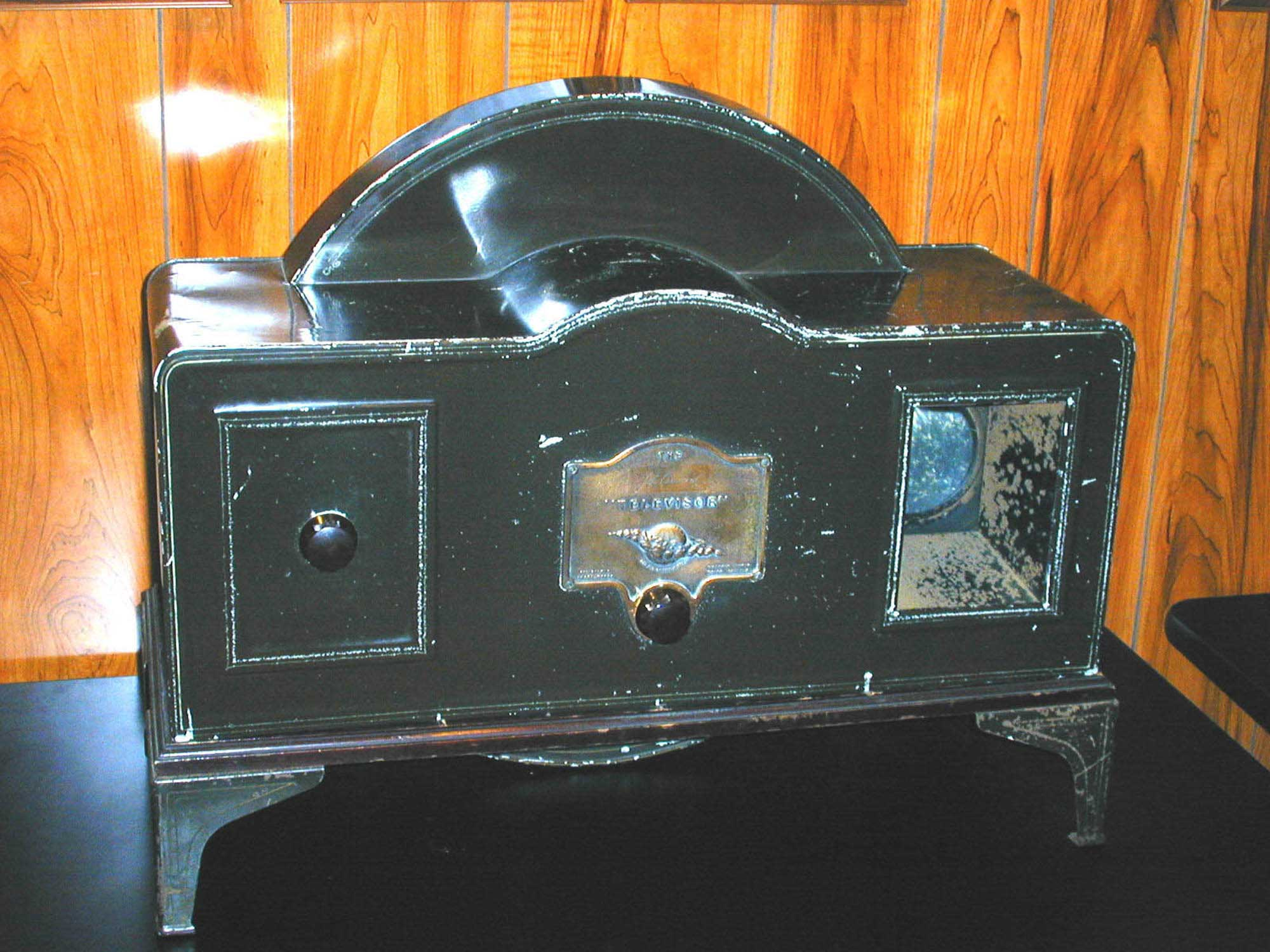 The 1929 Baird Televisor was the first commercially available mechanical television. It produced a poor quality image the size of a postage stamp. Image courtesy of the Early Television Foundation.