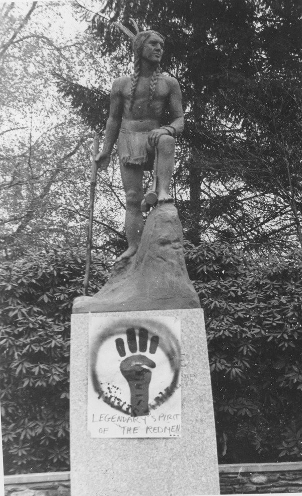 Raised fist logo placed on Metawampe statue, May 4, 1970.