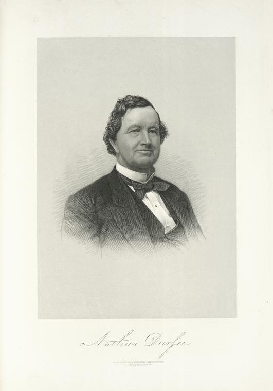 """Science, Industry and Business Library: General Collection , The New York Public Library. """"Nathan Durfee, Portrait."""" The New York Public Library Digital Collections. 1876."""