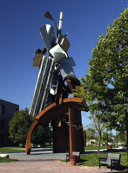 Image of the Sentinel sculpture by Albert Paley. The sculpture is a signature element on the Rochester Institute of Technology campus. (Image courtesy of RIT Archives)