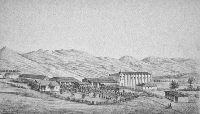 The mission in 1856, in a drawing by Henry Miller, who produced one of the most comprehensive collections depicting the California missions before the age of photography. UC Berkeley, Bancroft Library.