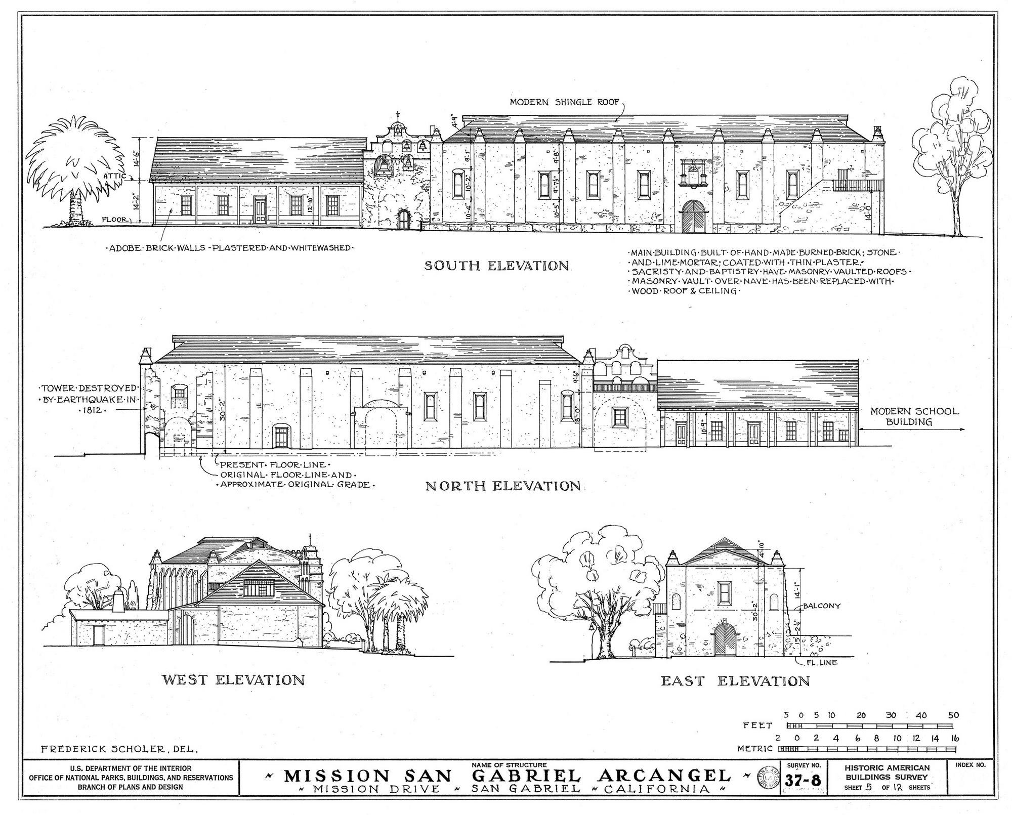 Elevation drawings of the mission by the U.S. Department of the Interior, noting in several places which portions of the structure are original and which have been rebuilt.