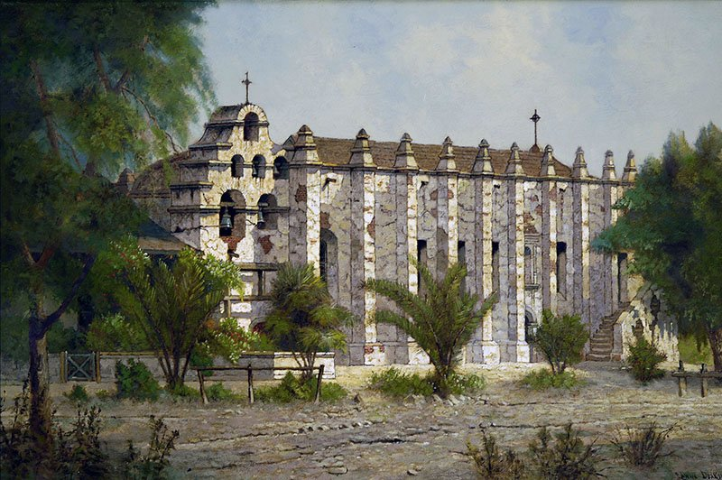 A modern painting of the mission from the 1800s. Arcangel's architecture was unique among missions, having heavy Moorish influences from its designer Father Antonio Cruzado, who was from Cordoba, Spain. Santa Barbara Mission Archive.