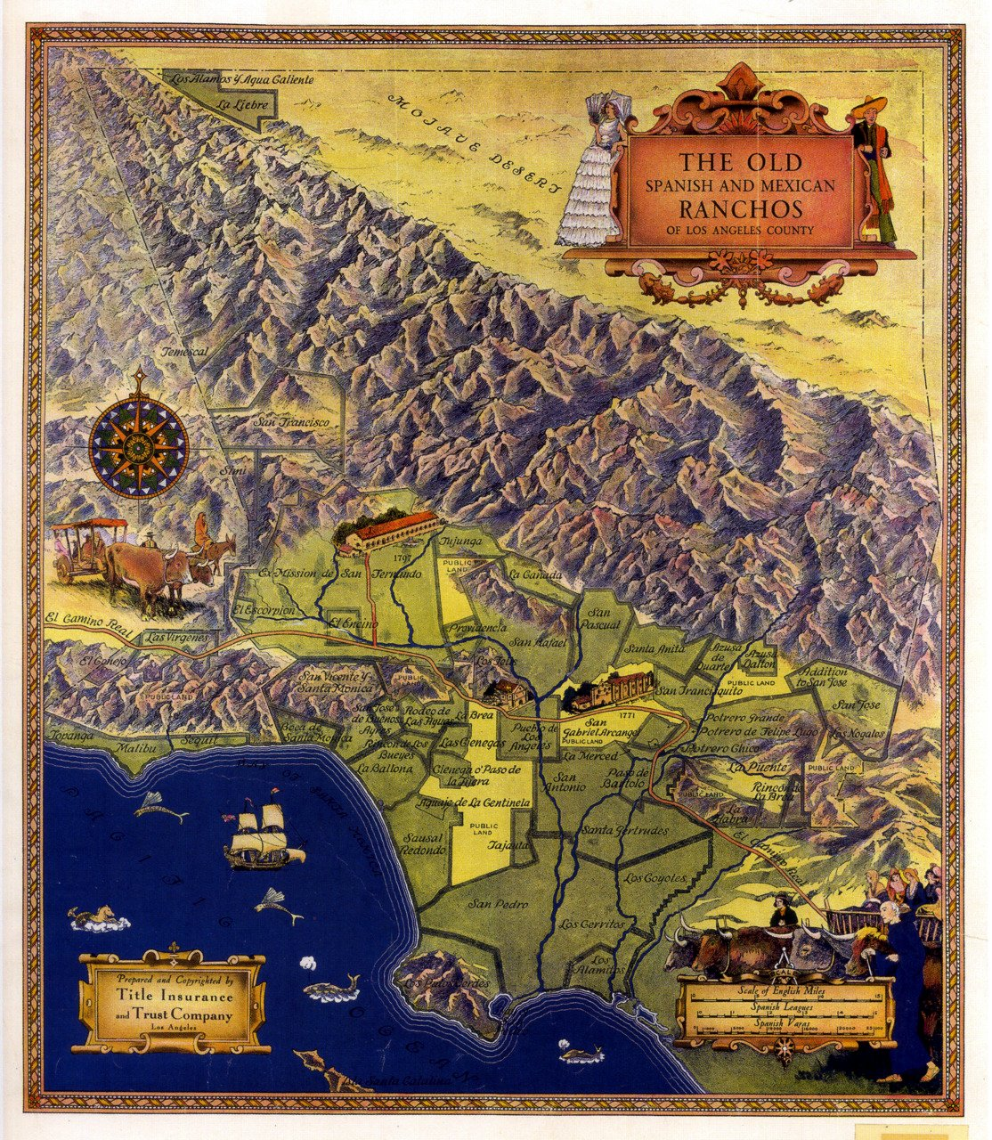 A map of the Spanish missions and ranchos in the Los Angeles. Note the many modern place names that correspond to the original Spanish and Mexican land grants.
