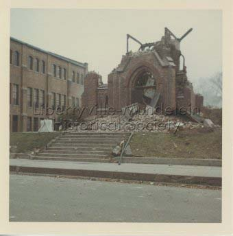 Original St. Joseph Church building being demolished, 1965-66