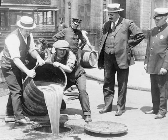 Prohibition was in effect for thirteen years, but the black market and organized crime spawned by it proved difficult for law enforcement to handle. Image obtained from Encyclopedia Britannica.