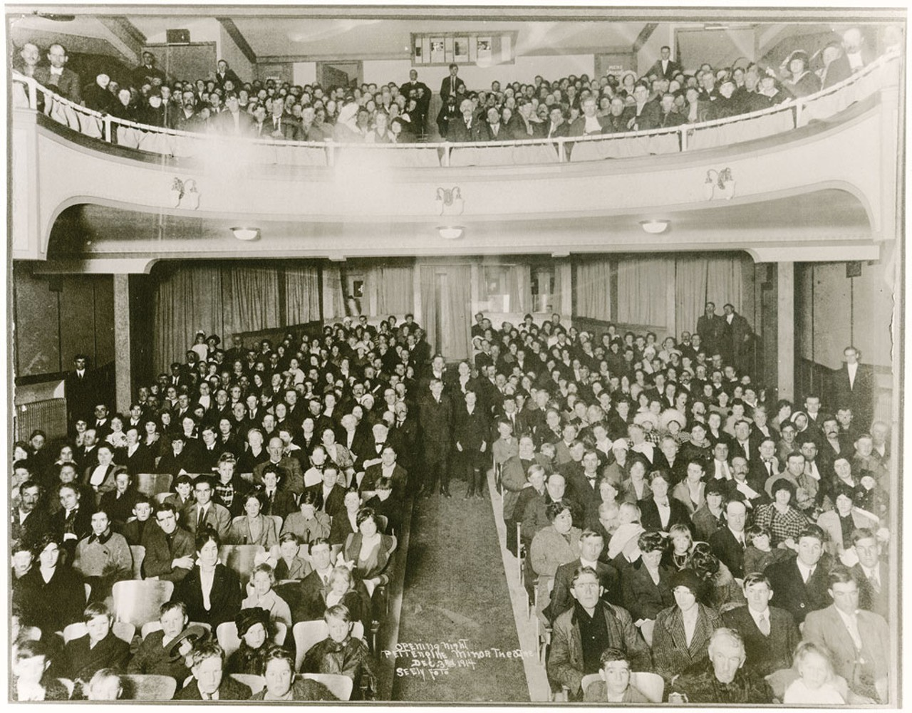 The packed house of Minor Theatre's original opening night.