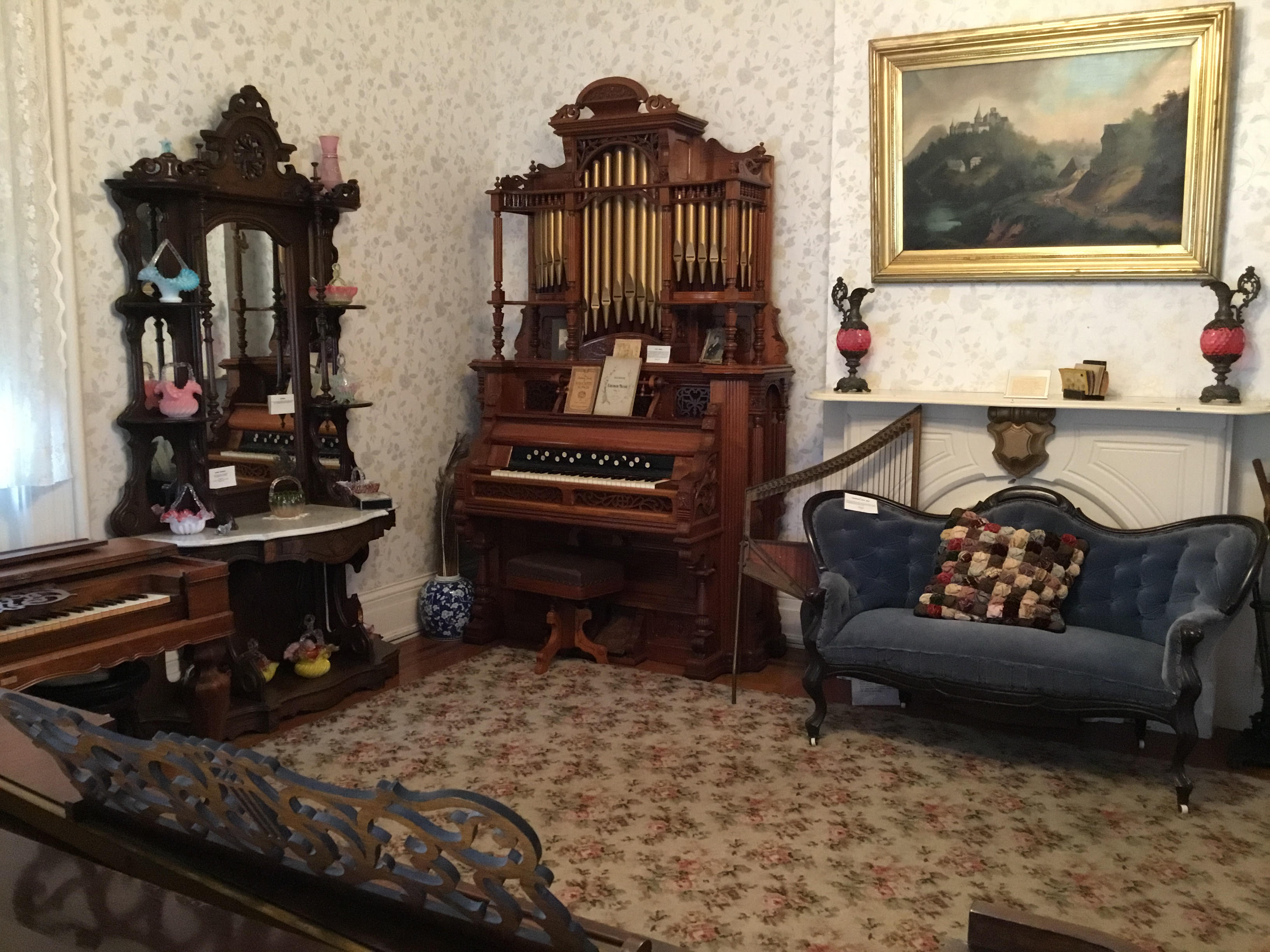 In the corner of this room is an 1870 pump organ, which was restored in the 1940s. Image courtesy of the Fayette County Historical Society.