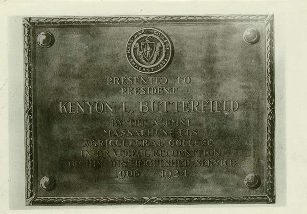 Kenyon L. Butterfield plaque, ca. 1925.