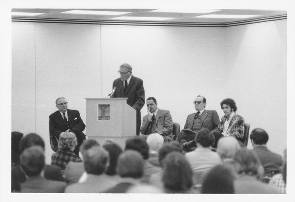 Dedication of Tower Library, 1974. (left to right, Prof.Oswald Tippo, Trustee Fred Troy speaking, Chancellor R.W.Bromery, Alums William Manchester, Student Kenneth Freed)