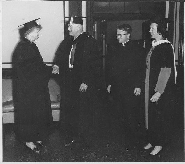 Ralph A. Van Meter with Eleanor Roosevelt during convocation, September 25, 1952