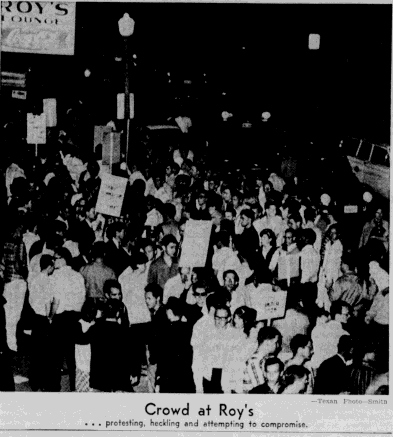 Two hundred students participate in a picket against Roy's Lounge on April 28, 1965.