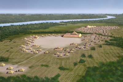 Artist's conception of Spiro Mounds center (image from Wikimedia)