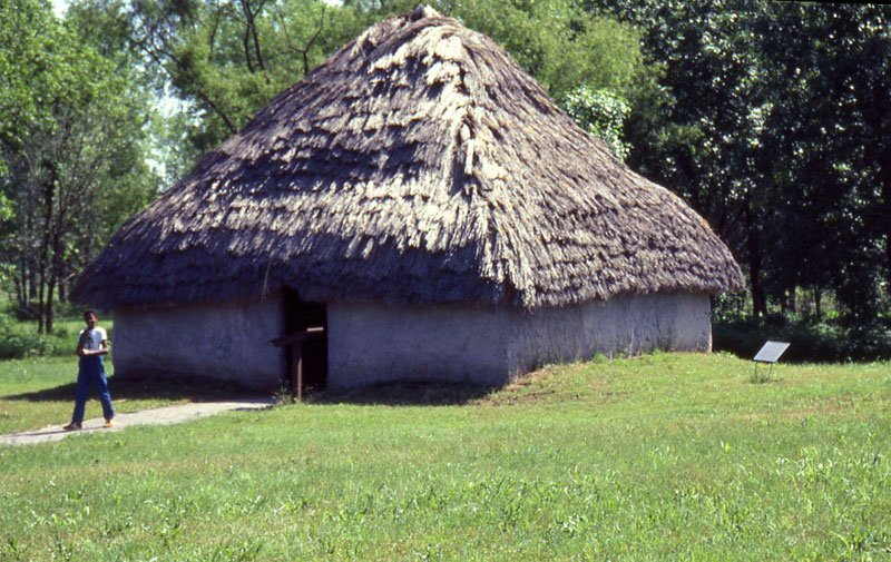 Reconstruction of a typical home at Spiro Mounds Archaeological Center (image from Texas Beyond History)