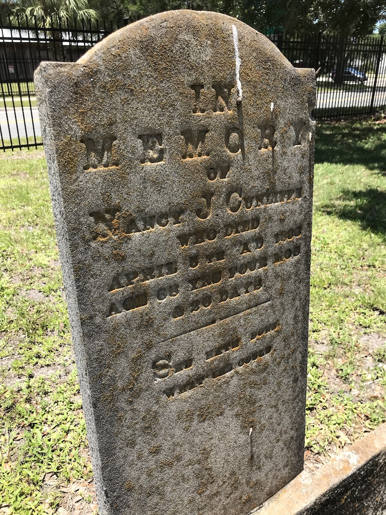 In Memory of Nancy J. Cunliff who died April 5 A.D., 1888, Aged 68 yrs, 4 mos and 26 days.